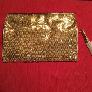 Michael Kors sparkly gold tone clutch